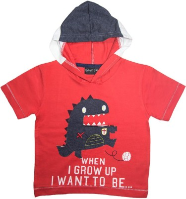 Just Chill Printed Boy's Hooded Red T-Shirt