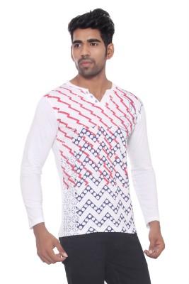 Pezzava Self Design Men's V-neck Reversible White, Red T-Shirt