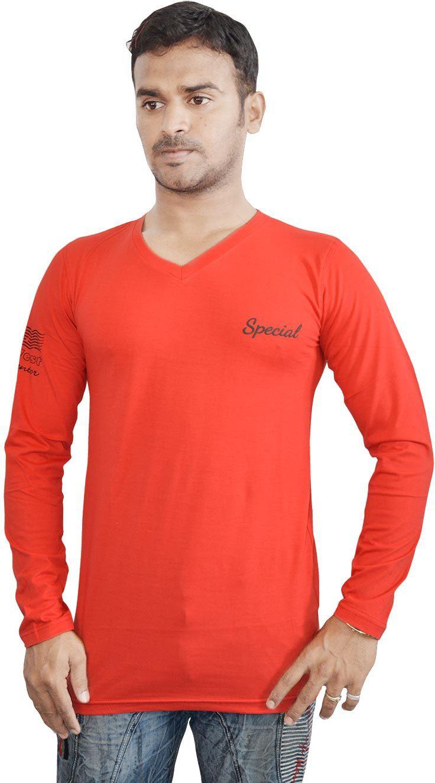 Al-Harsha Trend Solid Mens V-neck Red T-Shirt