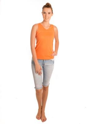 Bombay High Solid Women,s V-neck Orange T-Shirt