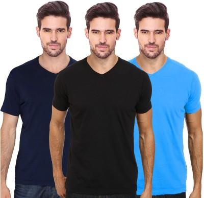 Smart look 7 Solid Men's V-neck Multicolor T-Shirt