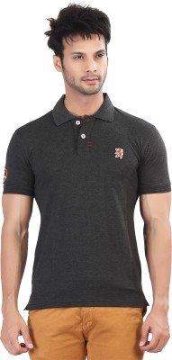 Purple Haze Solid Men's Polo Neck Grey T-Shirt