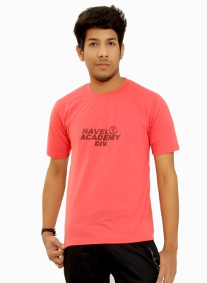 MountainColours Solid Men's Round Neck Pink T-Shirt
