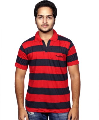 Fanatic Striped Men,s Polo Neck Red T-Shirt