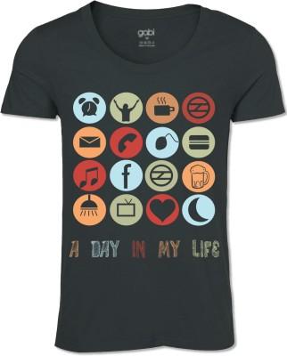 Gabi Graphic Print Men's Round Neck Black T-Shirt