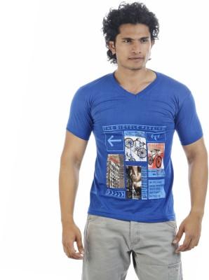 Shapers Printed Men's V-neck Blue T-Shirt