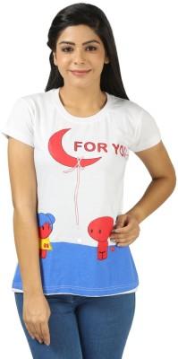 Shopdayz Printed Women's Round Neck White T-Shirt