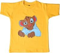 British Terminal Boys Animal Print T Shirt(Yellow, Pack of 1)