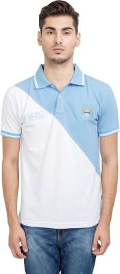 Manchester City FC Solid Men's Mandarin Collar Light Blue T-Shirt