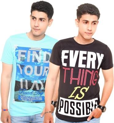 Zwizdot Printed Men,s Round Neck Light Blue, Black T-Shirt
