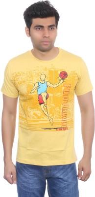 Studio Nexx Printed Men's Round Neck Yellow T-Shirt