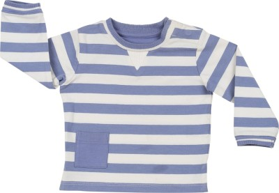 Toffee Moon Striped Baby Boy's Round Neck Blue, White T-Shirt