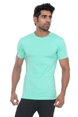 Pezzava Self Design Men's Round Neck Reversible Light Blue, White T-Shirt