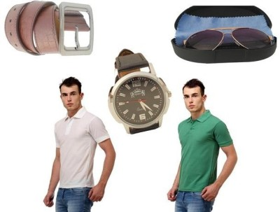 Tele Queen Solid Men's Polo Neck White, Light Green T-Shirt