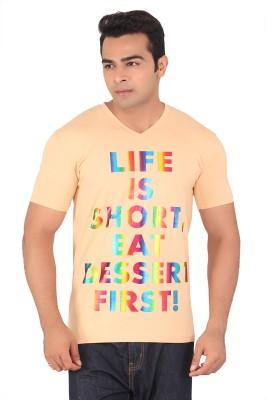 Radbone Printed Men's V-neck Orange T-Shirt