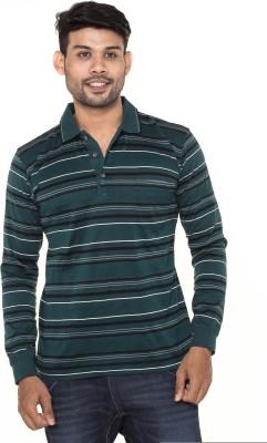 Gleneagles Striped Men's Polo Neck Dark Green T-Shirt
