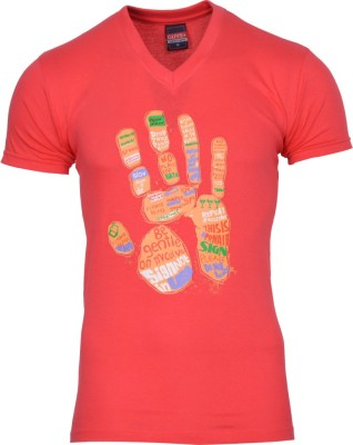 SnowFox Printed Men's V-neck Red T-Shirt