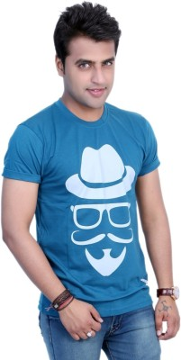Filimore Graphic Print Men's Round Neck Blue T-Shirt