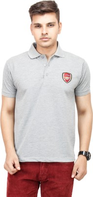 Yuvi Solid Men's Polo Grey T-Shirt