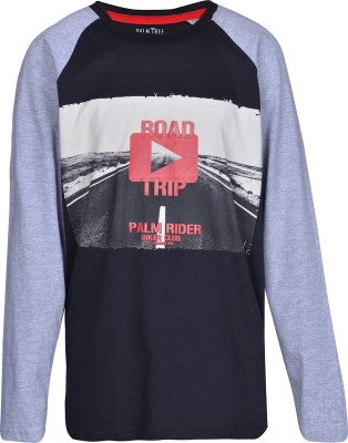 Gini & Jony Printed Boy's Round Neck Black T-Shirt
