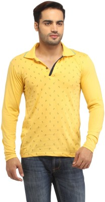 Stylistry Printed Men's Polo Neck Yellow T-Shirt