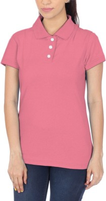 POLUO Solid Women's Polo Pink T-Shirt
