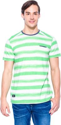 Mufti Striped Men's Round Neck Green, White T-Shirt