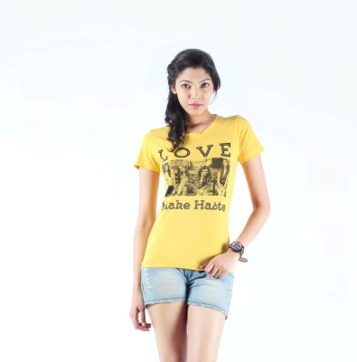S9 Women Printed Women's Round Neck Yellow T-Shirt
