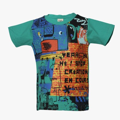 Tales & Stories Graphic Print Boy's Round Neck Green T-Shirt