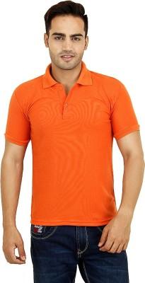 Vinson Solid Men's Polo Neck Orange T-Shirt