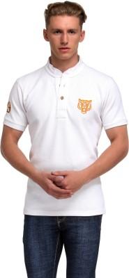 99Hunts Solid Men's Mandarin Collar White T-Shirt