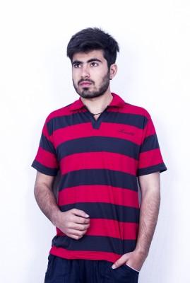 Khaiber Striped Men's Polo Multicolor, Red, Yellow T-Shirt