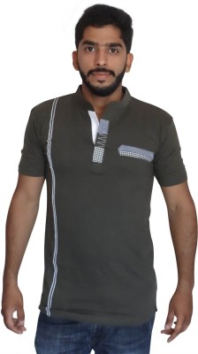 Uniqe Solid Men's Henley Green T-Shirt