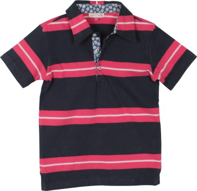 My Little Lambs Striped Boys Polo Neck Pink T-Shirt