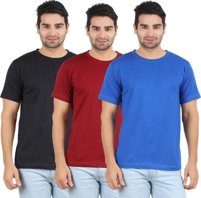 Heartin Beat Solid Men's Round Neck Maroon, Light Blue, Black T-Shirt