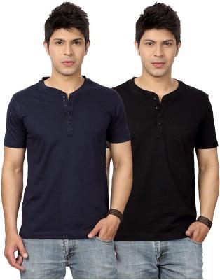 Top Notch Solid Men's Henley Dark Blue, Black T-Shirt