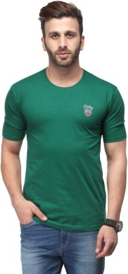 Ausy Solid Men's Round Neck Dark Green T-Shirt