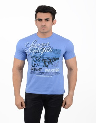 Black Sparrow Printed Men's Round Neck Blue T-Shirt
