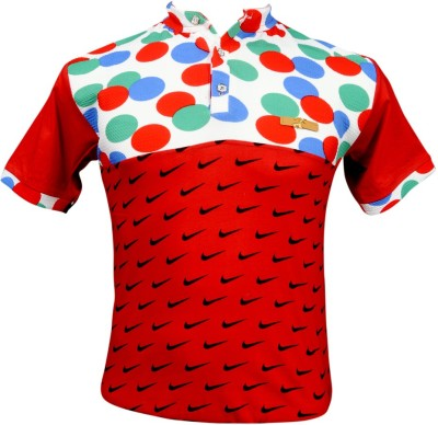 ADK Printed Men's Polo Neck Red, Multicolor T-Shirt