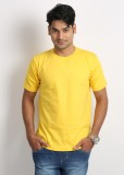 Weardo Solid Men's Round Neck Yellow T-S...