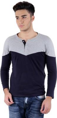 Bigidea Solid Men's Henley Grey, Dark Blue T-Shirt