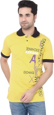 Buff Printed Men's Polo Neck Yellow, Black T-Shirt