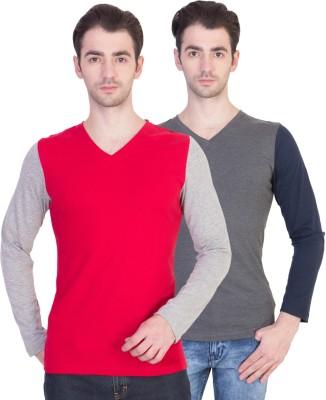 14forty Solid Men's V-neck Multicolor T-Shirt