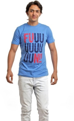 BG69 Graphic Print Men's Round Neck Light Blue T-Shirt