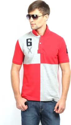 In The Closet Solid Men's Polo Neck Red T-Shirt
