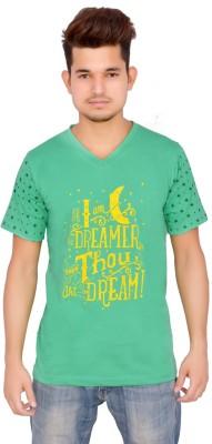 Yellow Sun Printed Men's V-neck Green T-Shirt