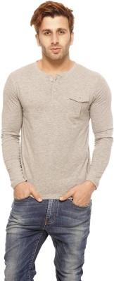 Gritstones Solid Men's Henley Grey T-Shirt