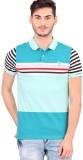 Bonaty Striped Men's Polo Neck Blue T-Sh...