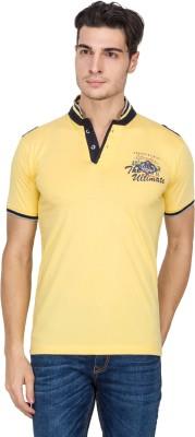 V9 Self Design Men's Polo Neck Yellow T-Shirt