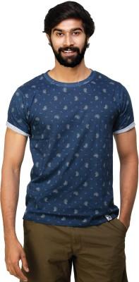 0EM Printed Men's Round Neck Blue T-Shirt